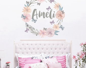 Personalized Name Wall Decal Rustic Nursery Decal Girls Name Wall Decal Boho Nursery Decor Name Decal Girl Room Decor Crib Decal  (MA228)