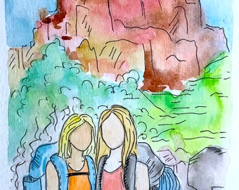 Friends: Custom Watercolor and Ink Portraits