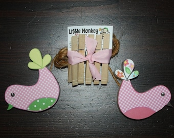 2 Pretty Lil Birdies Wooden Girls Wall ART DISPLAY CLIPS for Kids Bedroom Baby Nursery Playroom Ac0015