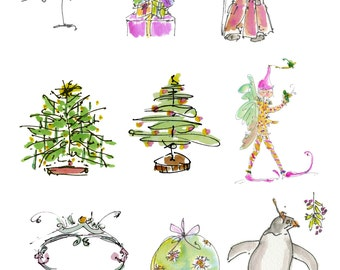 "CHRISTMAS CRAFTERS..Clipart / Digital Download / 300 dpi/ hi resolution of Original Watercolor . 8""x10"" Great for any application."