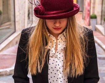 Fur felt hat, bowler hat, felt bowler, small brim hat, womens winter hat, 1920s hat, downton abbey hat, wedding hat, derby hat, hat, hats