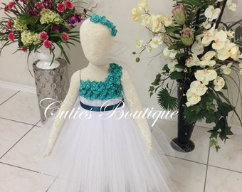 White Dress With Teal Hydrangea Flower Dress Wedding Dress Birthday Picture Prop Yellow Flower Girl Dress