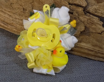 Pin On Corsage - Rubber Duck Themed Baby Shower Corsage - Pin On Baby Shower Gift - Mommy Corsage - Pacifier and Baby Socks