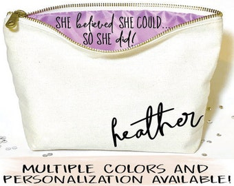Graduation gift,  Personalized  makeup bag- Canvas cosmetic bag-  gifts for graduation - Zipper pouches - make up bag- graduation gift for