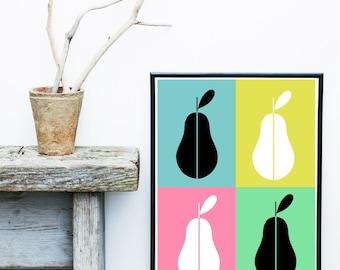 Pear Print, Kitchen Wall Art, Mid Century Modern, Abstract Art Print, Scandinavian Art, Giclee print, Wall Art,  Large Wall Print
