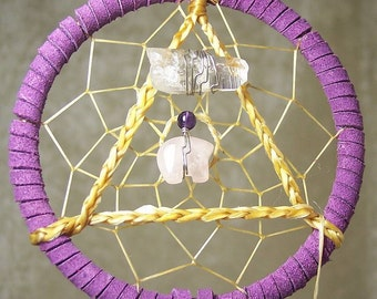 SERENITY BEAR - 3 Inch Dreamcatcher in Purple and Pink by Feathered Dreams