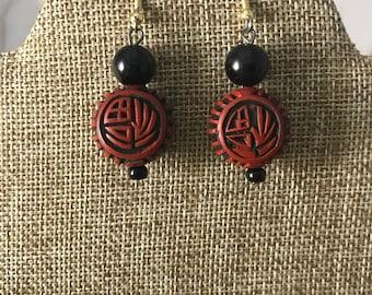 Dual side design red cinnabar earrings
