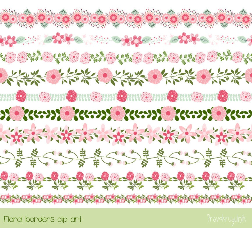 Pink flower border clipart cute floral border clip art wedding this is a digital file mightylinksfo Choice Image