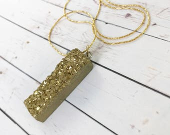 Gold Druzy Pendant Necklace // Sparkly Geode and Gold Boho Stone // Gifts for Her