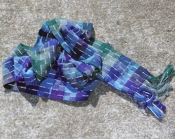 Pixelated Peacock Reflective Scarf - blue green purple night safe