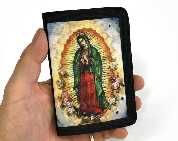 Wallet-Guadalupe-Tri fold-Canvas-Religious-Faith-Sublimation-Gift for Friend