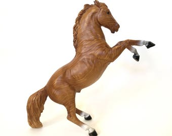 Vintage Breyer Horse Model, Woodgrain 'The King' Fighting Stallion, 1960s 1970s Traditional Collectible Model Horse, #931