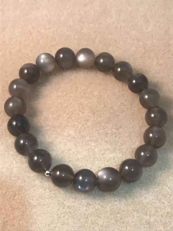 Black Moonstone Bracelet 10mm Bead Stretch Bracelet With