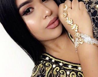 Gold Diamante RhinestoneHand Panja Hand Chain Bollywood Bohemian Grecian Jewelry Glamorous hand jewelry Kundan Wedding Baby Shower