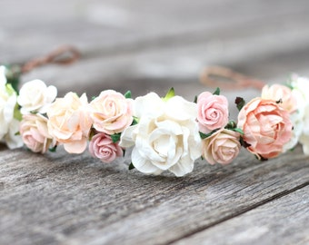 Peach Wedding Crown Blush Flower Crown Ivory Rose Headband Wedding Blush Headpiece Flower Girl Crown Hair Wreaths Wedding Hair Accessories
