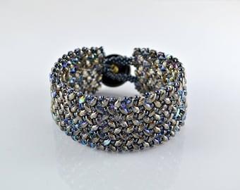 Beaded Herringbone Bracelet in Graphite Gray Violet and Blue, SuperDuo Bead Bracelet