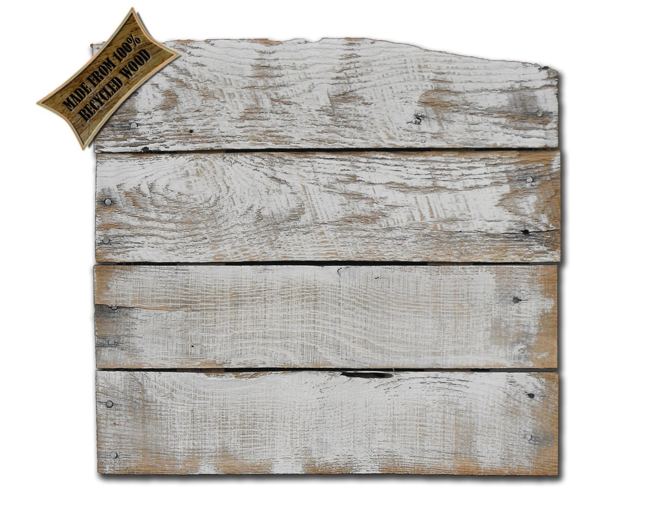 Reclaimed recycled upcycled rustic blank distressed white
