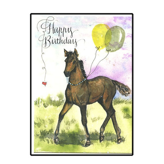 Horse Birthday Card In Watercolor Horse Lover Birthday Card