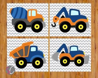 Boys Construction Trucks Vehicles Wall Art Room Decor Trucks Orange Navy Blue Playroom 4 Printable 8x10 Digital JPG Files  (cs3)