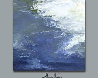 Navy blue abstract water painting on canvas Giclee print, Coastal decor Beach WALL ART, Home office decor, Stretched canvas
