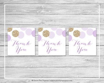 Purple and Gold Baby Shower Favor Thank You Tags - Printable Baby Shower Thank You Tags - Purple and Glitter Baby Shower - Favor Tags- SP109