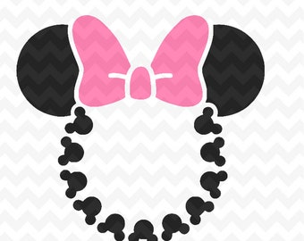 Minnie Mouse head monogram SVG,  Instant Download Minnie Mouse Head Vector Minnie Mouse Cut File, Minnie Mouse for Silhouette and  Cricut