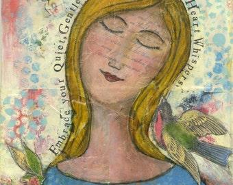 Quiet Spirit, 5x7 notecard of original mixed-media collage