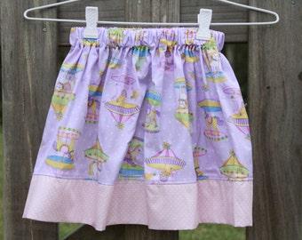 PastelPurple and Pink Carousel Girls Skirt