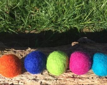 5 Felted Wool Jingle Balls