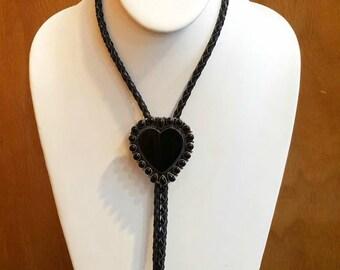 Vintage Native American Navajo Handmade Sterling Silver Black Onyx Heart Bolo Tie