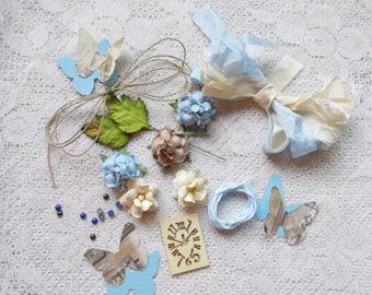 Embellishment  Kit for cards,  Scrapbooking Embellishment, Card Making, Mixed Media, Tag Art, Tags, Mini Album, Art,Blues-Browns