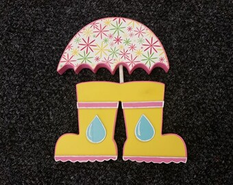Spring Rain Boots With Umbrella Wood Crafts