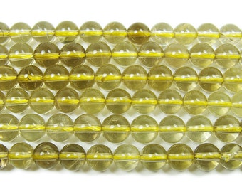 Lemon Quartz Round Gemstone Beads