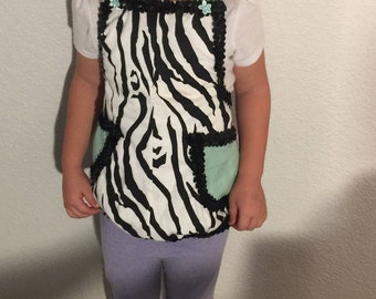 Adorable mint and Zebra Apron XS