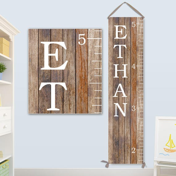 Growth Chart Ruler - Personalized Canvas Growth Chart, Boys Growth Chart, Wood Image on Canvas - GC0118S_Ang