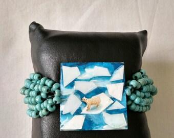 Original work,Resin bracelet,seashell bracelet,hand painted bracelet,polar bear bracelet,epoxy bracelet
