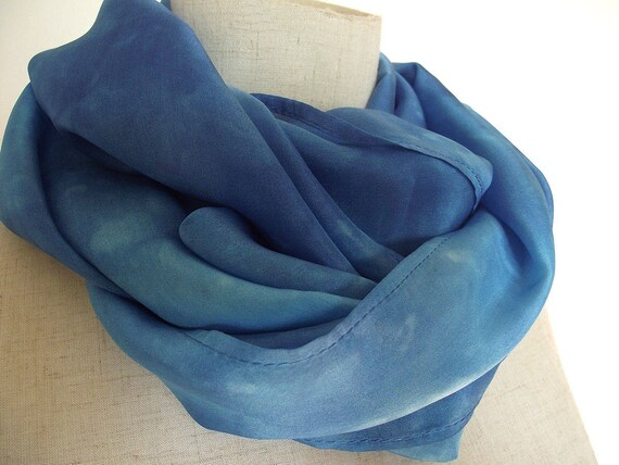 "Hand Dyed Silk Infinity Scarf - 11 x 76"", Blue on Blue-Long Infinity Loop"