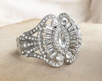 Art Deco bracelet, silver bracelet, art deco jewelry, art deco bridal bracelet, bridal bracelet cuff wedding silver EYE
