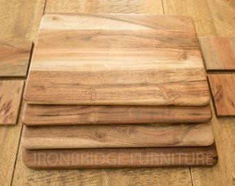 Set of 4 Solid Acacia Wood Board Placemats and 4 Coasters  ACA-PMATS/COASTERS