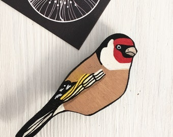 Wooden Brooch Goldfinch
