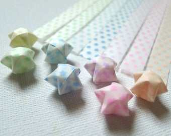 Rainbow Stars - Glow in the Dark Vellum Origami Lucky Star Paper Strips - 7 colors (200 strips)
