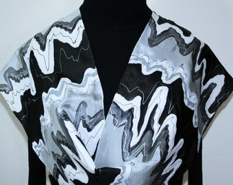 Silk Scarf Hand Painted Black White Gray Handmade Shawl MIDNIGHT WATERFALL, by Silk Scarves Colorado. Select Your SIZE! Birthday Gift