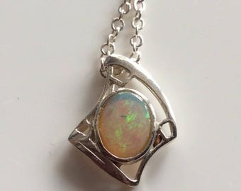 Natural Solid Australian Opal Pendant Solid 925 Sterling Silver