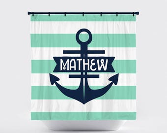 Shower Curtain, Horizontal Stripe, Striped, Preppy, Nautical, Anchor,  Pick Your Colors