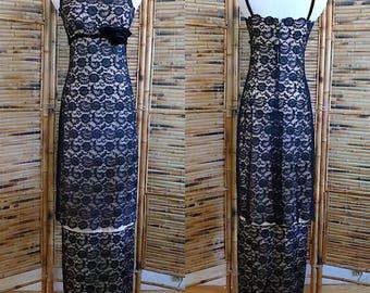 Vintage 1960s Black Lace Velvet Spaghetti Strap Maxi Party Dress - Extra Small