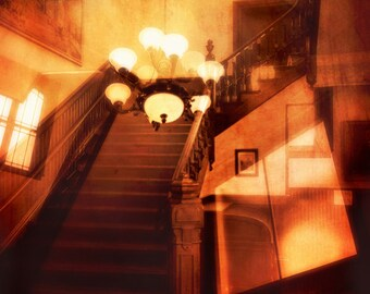 Kronleuchter Treppe ~ Foto druck cyanotypie gruselige treppe schatten alte