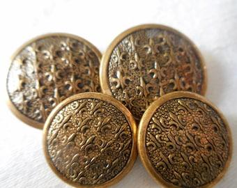 Set of 4 VINTAGE Fleur Di Lis Metal BUTTONS