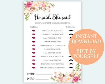 EDITABLE He said She said game printable Floral Bridal Shower games Instant download PDF template