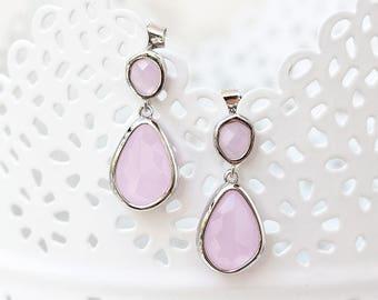 783 Pink crystal earrings, Drop silver earrings, Bridesmaid gift, Bridesmaid gift earrings, Blush pink crystal earrings, Bridal party gifts.