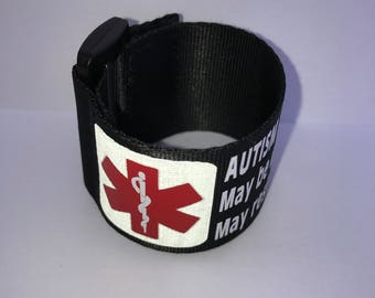 Reflective Adjustable Autism Medical Alert Bracelet